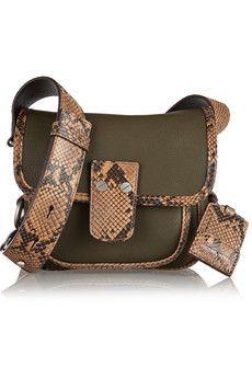 Michael Kors Taylor small python-trimmed leather shoulder bag | NET-A-PORTER