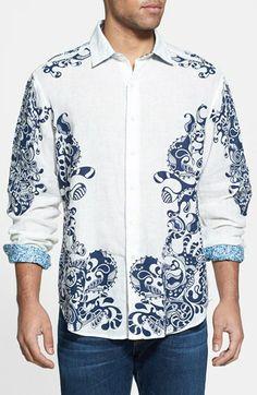 Robert Graham Embroidery $278 Geometric Gray Black Plaid Sports Shirt