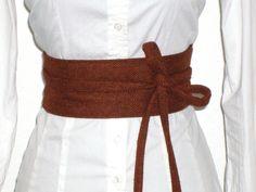 Taillengürtel braun Schurwolle Herringbone - Für mehr Festigkeit mit Vlies unterlegt