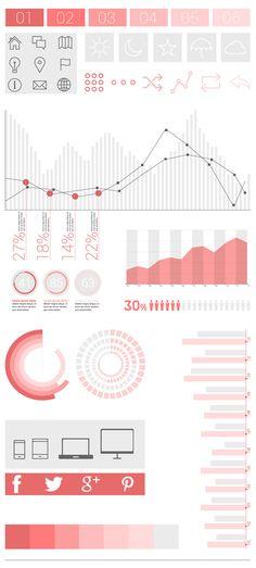 Free Flat Infographic Elements UI Design #flatuikits #psdkits #uikits #uikits2014 #psduikits