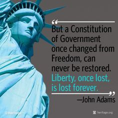 But a Constitution of Government once changed from Freedom, can never be restored.  Liberty, once lost, is lost forever.  ~John Adams