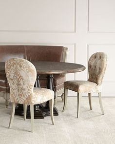 Alynda+Banquette,+Porcelain+Dining+Chair,+&+Lahoma+Dining+Table+by+Bernhardt+at+Neiman+Marcus.