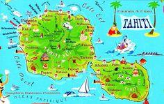 Tahiti - Carte touristique Tahiti Islands, Society Islands, French Polynesia, Ocean Life, Amazing Destinations, Solo Travel, Garden Art, New Art, Places To Visit