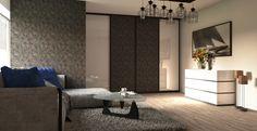 Typ na dizajn modernej obývacej izby s tapetou