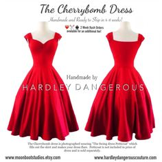 """size: XS length: Petite Mini 30.5"""" color: Cherry Red $119.50  The Cherrybomb Swing Dress by Hardley Dangerous by MoonbootStudios"""