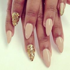 nude & gold stiletto nails #nailart #gold #glitter #nails