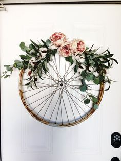 Custom Rusty Olives Cotton Eucalyptus Peonies: bicycle wheel wreath wreath wedding decor home decor farmhouse decor shabby chic Shabby Chic Kranz, Shabby Chic Wreath, Shabby Chic Decor, Bicycle Decor, Bicycle Art, Shabby Chic 2019, Diy Wreath, Wreaths, Bicycle Wheel