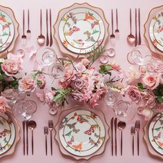 Anna Weatherley Chargers in Desert Rose + MacKenzie-Childs Butterfly Garden Collection + Moon Flatware in Rose Gold + 24K Gold Rimmed Stemware + Pink Enamel on Copper Salt Cellars + tiny Copper Salt Spoons [Casa de Perrin]