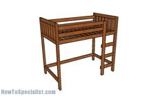This step by step diy article is about loft bed plans. This is a very simple modification of my bunk bed plans. So, if you have a small roof and you want to fit both a bed and a study desk, these plans will come handy to you. Loft Bed Diy Plans, Pallet Loft Bed, Build A Loft Bed, Loft Bed Frame, Bunk Bed Plans, Loft Plan, Diy Bed Frame, Bunk Beds With Stairs, Kids Bunk Beds