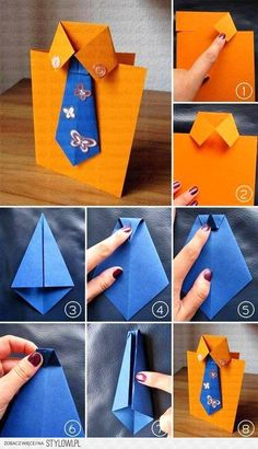 Cute and easy DIY Fathers Day Card Ideas to make at home.DIY Fathers day cards tutorials for making origami shirt cards,tie theme cards Diy Father's Day Cards, Origami Shirt, Origami Dress, Pioneer Gifts, Diy And Crafts, Paper Crafts, Jw Gifts, Father's Day Diy, Dad Day