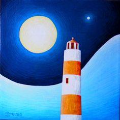 la luna illumina il faro