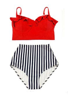 High waist waisted Pin up Bikini Swimsuit Bathing suit Swimwear Swim wear : Red Underwire wire wired Top and Stripe Retro Bottom S M L XL by venderstore on Etsy