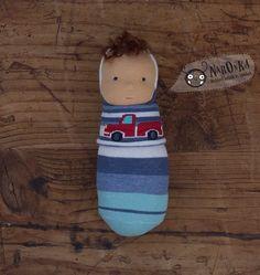 Waldorf pocket doll with socks body with truck motive  by naronka