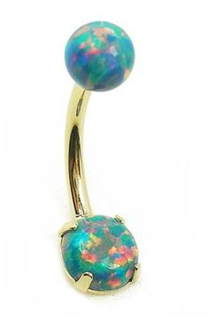 Rainbow stone belly button ring