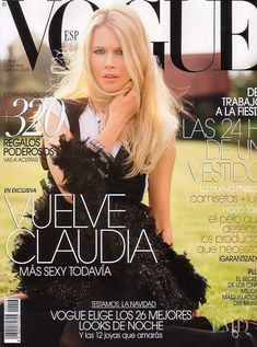 Claudia Schiffer featured on the Vogue Spain cover from December 2005