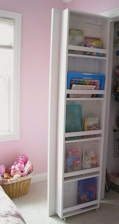 Storage racks mounted inside on the closet door use wasted space to store toys, books, shoes and more kidstuff!
