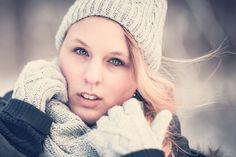 Cute in Winter Wind - Cute blonde girl in cold winter forest