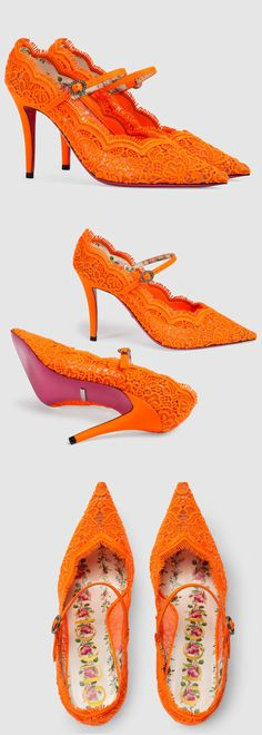 Gucci Orange Lace Stilletto Lace Shoes. Orange is the happiest Colour. Great for Autumn, Spring and Summer. #fashion #fashionista #fashionaddict #racingfashion #fashionsonthefield #motherofthebride #affiliate