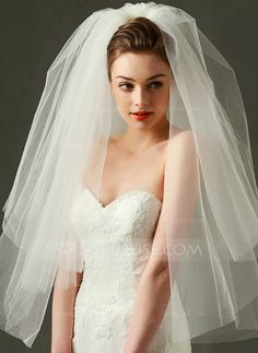 Two-tier Cut Edge Wedding Veil Blusher Veils / Elbow Veils / Fingertip Veils wit. - Two-tier Cut Edge Wedding Veil Blusher Veils / Elbow Veils / Fingertip Veils with Tulle / Classic - The Princess Bride, Princess Bridal, Wedding Hairstyles With Veil, Bride Hairstyles, Wedding Hair Updo With Veil, Tulle Wedding, Wedding Dresses, Short Wedding Veils, Ball Gowns