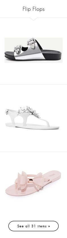 """""""Flip Flops"""" by glamgirl321 ❤ liked on Polyvore featuring shoes, sandals, peep-toe shoes, pu shoes, double buckle shoes, polyurethane shoes, 2 buckle sandals, flip flops, flower print shoes and metallic sandals"""