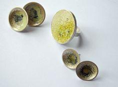 Katie PETRIEE-UK Enamelled domed earrings and bezel set ring, silver