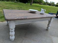 Rustic boho large wooden coffee table. White distressed shabby chic. Rustic wooden coffee table w