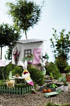 Miniature garden www.pandurohobby.com  #panduro #diy #miniature #miniatyr #miniland #easter #påsk #påskhare #easterbunny #nissedörr