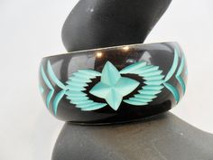 Vintage Carved Enamel Bangle Bracelet Turquoise by KathiJanes
