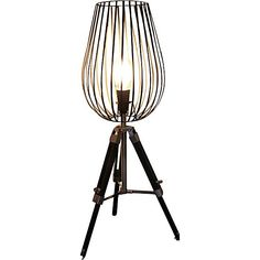 Wire Cage Tripod Table Lamp