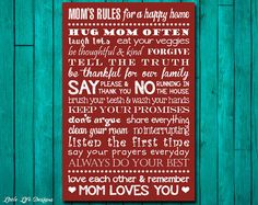 Mom's Rules for a Happy Home Sign. Family Rules. Home Decor. Gift for Mom. Mothers Day Gift. Mom Loves You. House Rules. Mom's House Rules.