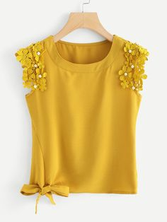 Casual Plain Regular Fit Round Neck Yellow Regular Length Knot Side Pearl Beaded Detail Top - Casual Plain Regular Fit Round Neck Ginger Regular Length Knot Side Pearl Beaded Detail Top Source by martinagenn - Little Girl Dresses, Girls Dresses, Girl Fashion, Fashion Outfits, Womens Fashion, Diy Clothes, Clothes For Women, Couture, Refashion