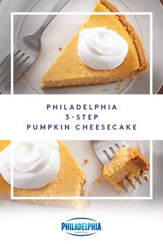 Making Pumpkin Cheesecake in 3 steps sounds like we're making it up. But it's true! All it takes is some mixing, pouring and baking with a few essential ingredients –PHILADEPHIA Cream Cheese, graham cracker crumb crust, pumpkin and cinnamon. Köstliche Desserts, Delicious Desserts, Dessert Recipes, Yummy Food, Thanksgiving Desserts, Holiday Desserts, Holiday Recipes, Holiday Ideas, Pumpkin Dessert