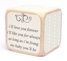 I'll Love You Forever - Baby Shower Gift - Baby Boy - Country Chic - Shabby Chic - Wooden Baby Blocks - 2 Inch