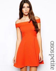 11379ad57c83 ASOS PETITE Exclusive Check Textured Bardot Skater Dress at asos.com