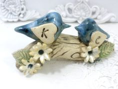 Customized rustic wedding cake topper A pair of by orlydesign