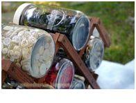 Mason jars and wine rack