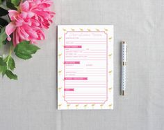Mini Flamingo Pet Sitter Notepad | Flamingos for a Cure | Meredith Collie Paper  20% of each sale is donated to breast cancer awareness.
