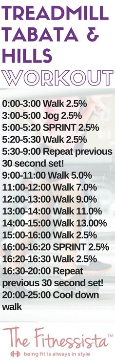 Tabata Treadmill Workout - This is a cardio workout utilizing Tabata intervals and hills. It's a sweaty 20 minute workout for when you're short on time! fitnessista.com