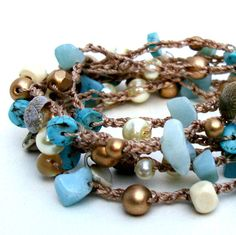 Beach Crochet Bracelet Surfer Chic Beaded Wrap trendy rope wrap layered necklace shell turquoise ivory gold summer fashion