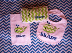 Chevron Whale Applique Baby SetPersonalized by AddyandTabbysTrunk, $25.00