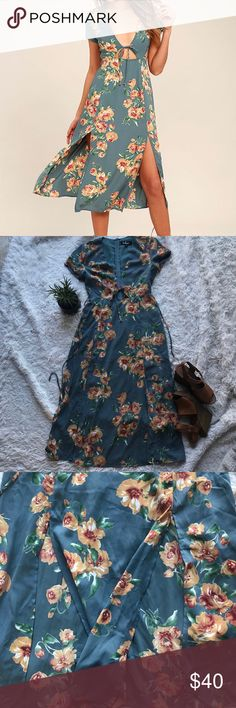 """🌼 NWT Lulu's 🌼 Best Day of my Life Midi Dress """"Best Day of My Life Dusty Sage Midi Dress"""" The actual price tag isn't attached, but the try on tag is still attached. Never worn!  Still on sale on Lulu's website! Lulu's Dresses Midi"""
