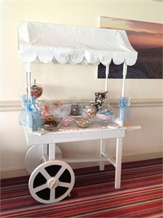Our gorgeous sweet cart from One & All Wedding Services Ltd Wedding Pictures, Wedding Ideas, Sweet Carts, Wedding Services, Candy Cart, Canopy, Real Weddings, Favors, Wedding Decorations
