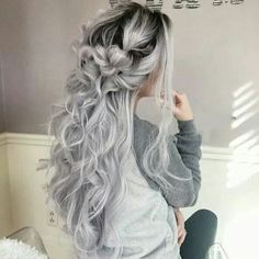 Buy Fashion Grey Wig Cosplay Long Curly Wavy Hair Full Bangs Synthetic Hair Wig(Color:Black+Gray) at Wish - Shopping Made Fun Ombre Hair Color, Cool Hair Color, Blue Ombre, Sliver Hair Color, Grey Hair Colors, Grey Hair Wig, Wavy Hair, Dyed Gray Hair, Emo Hair