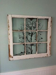 design old windows ideas decorating for best recycled on window frame wall decor idea Old Doors, Windows And Doors, Wooden Windows, Vintage Windows, Antique Windows, Old Windows Painted, Vintage Window Decor, Painted Window Panes, Decorative Windows
