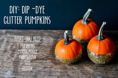 Oh man, am I ever in love with my latest project! Dip-dye glitter pumpkins! I've had this idea in my head for a while, and was so happy that it came out exactly like I wanted. Kind of rustic/farm-y mixed with glam. I think these would make such fun and versatile decorations, from adding
