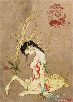 辟邪,古代传说中的神兽。似鹿而长尾,有两角,也叫做貔貅