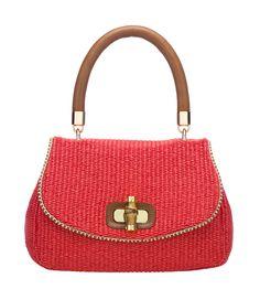 Luisa Spagnoli Straw bag with bamboo closure