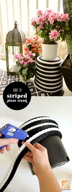 Wrap an inexpensive plastic pot with black and white rope to create a striped plant stand - From The Home Depot Patio Style Challenge and Mandy of Fabric Paper Glue White Home Decor, Diy Home Decor, Room Decor, Rope Crafts, Diy Crafts, Plant Crafts, Decoration Chic, Balcony Decoration, Decorations