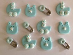 Edible Fondant Boy Baby Shower Cupcake Toppers - Baby Bib, Baby Carriage and Safety Pin - Set of 12