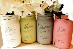 From the craft store pick out some matte finish paint in the colors of your choosing. Using a foam or tight, thin bristled brush paint the outside of the jar. Allow to dry completely (about an hour) and repeat for 3 to 4 layers depending on your liking. Allow to dry overnight. The next day, using a very fine sand paper, lightly sand the raised letters, raised areas on mouth, and any small spots you want to have the rubbed/vintage effect.